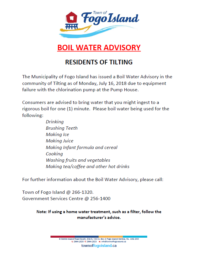 lifted as of August 13, 2018) Tilting Residents - Boil Order Notice