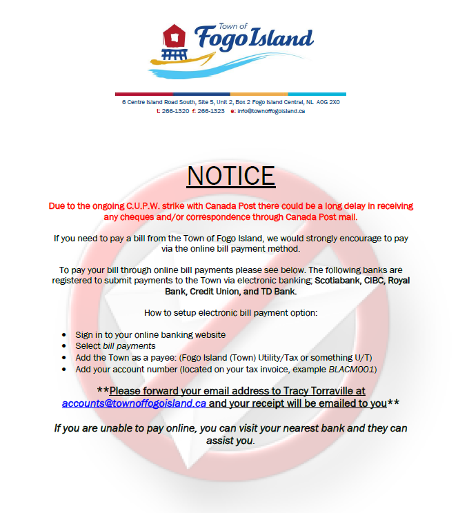 C U P W Canada Post Mail Strike Notice - Town of Fogo Island